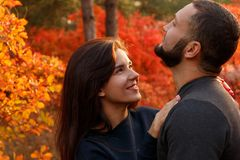 Romantic couple in love. In autumn park Stock Photography