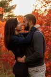 Romantic couple in love in autumn park. Above red leaves Royalty Free Stock Photography