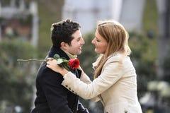 Romantic couple in love celebrating anniversary Stock Photos