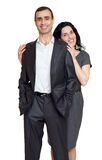 Romantic couple in love, dressed in black suit, isolated white Stock Image