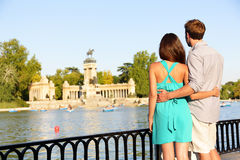 Romantic couple in love in El Retiro park Madrid Royalty Free Stock Photos