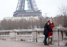 Romantic couple in love in France Royalty Free Stock Images