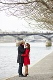 Romantic couple in love having a date stock photo