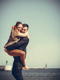 Romantic couple in love having fun on beach Stock Images
