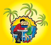 Romantic couple in love and holiday beach background with palms  illustration Stock Photo