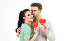 Romantic couple in love hug. Handsome unshaven man and pretty girl in love. Valentines day and love. Romantic feelings stock images