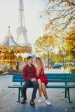 Romantic couple in love near the Eiffel tower stock photos