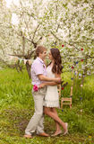 A romantic couple in love outdoors Royalty Free Stock Photography