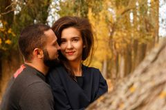 Romantic couple in love. In autumn park Royalty Free Stock Photo
