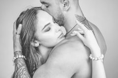 Romantic couple in love. Sensual and intimate moment of lovers. Feeling and emotion. Man enjoying foreplay with sexy
