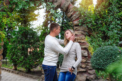 Romantic couple in love walking in the summer park Stock Photo