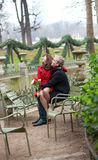 Romantic couple in the Luxembourg garden. Romantic couple having a date in the Luxembourg garden stock photo