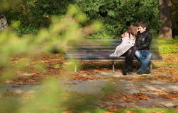 Romantic couple in the Luxembourg garden at fall. Paris, France royalty free stock images