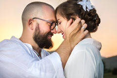 Romantic couple at moment before kissing royalty free stock photography