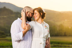 Romantic couple at moment before kissing royalty free stock images