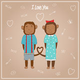 Romantic couple Monkeys. Valentines day card with romantic couple Monkeys. Monkeys boy and girl. Vector illustration Royalty Free Stock Image