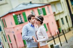 Romantic couple on Montmartre in Paris Royalty Free Stock Image