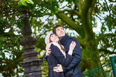 Romantic couple on Montmartre in Paris Stock Photo