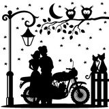 Romantic couple and motorcycle. Romantic couple, motorcycle, two cats and two owls Stock Photos