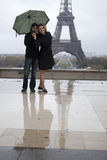 Romantic couple near the Eiffel Stock Photos