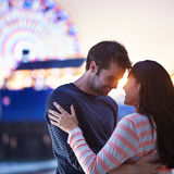 Romantic couple near santa monica pier royalty free stock photos