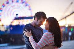 Romantic couple near santa monica pier Stock Images