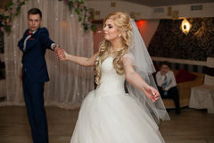 Romantic couple of newlyweds first elegant dance at wedding rece Royalty Free Stock Images