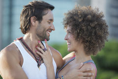 Romantic couple. Oudoor with blurred background Stock Image