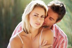 Romantic couple outdoors royalty free stock photos