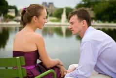 Romantic couple in Paris. In the Tuileries garden Royalty Free Stock Photos