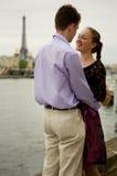 Romantic couple in Paris. On the Seine embankment Stock Image