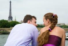Romantic couple in Paris. On the Seine embankment Royalty Free Stock Image