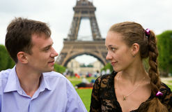 Romantic couple in Paris Royalty Free Stock Image