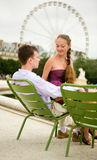 Romantic couple in Paris Stock Images