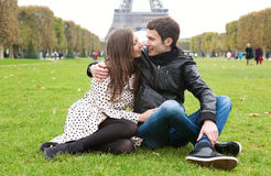 Romantic couple in Paris. Near the Eiffel Tower stock photos