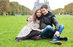 Romantic couple in Paris. Near the Eiffel Tower royalty free stock photos