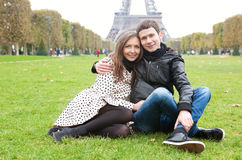 Romantic couple in Paris. Near the Eiffel Tower stock photo