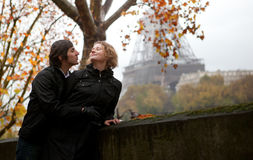 Romantic couple in Paris Royalty Free Stock Photo