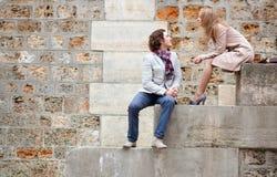 Romantic couple in Paris. Romentic couple in Paris at the embankment royalty free stock images