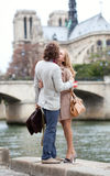 Romantic couple in Paris. Romentic couple in Paris kissing royalty free stock image