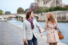 Romantic couple in Paris Stock Photography