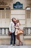 Romantic couple in Paris. Romentic couple in Paris on the St. Louis island stock image