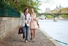 Romantic couple in Paris. Romentic couple in Paris at the embankment stock photos