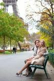 Romantic couple in Paris. Romentic couple in Paris by the Eiffel Tower stock photo