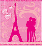 Romantic couple in Paris - abstract card Stock Photography