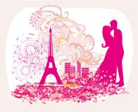Romantic couple in Paris - abstract card. Vector Illustration Royalty Free Stock Images