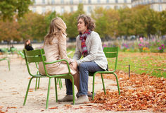 Romantic couple in Paris at fall. Having a date Royalty Free Stock Photography