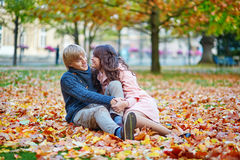 Romantic couple in Paris on a fall day Royalty Free Stock Photography