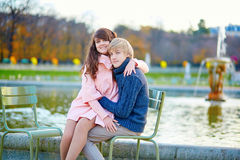 Romantic couple in Paris on a fall day Stock Photography