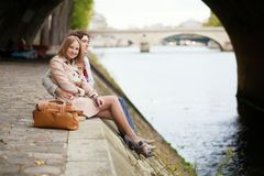 Romantic couple in Paris, having a date Stock Photos